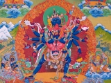 Sacred Heruka thangka with Gyenze Shugden