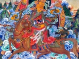 Centre: Shugden Gyenze Left bottom: 4-faced Mahakala Bottom centre: Pelden Hlamo Right bottom: Setrap-Chen