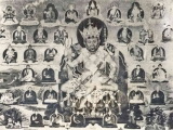 Je Pabongka as Heruka himself, with Dorje Shugden on the bottom left as a Dharma Protector