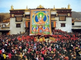Huge Tsongkapa blesses the crowd
