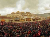 Thousands of Shugden devotees celebrate Monlam in Gaden Sumtseling Monastery, Tibet
