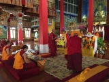 H.E. Achok Rinpoche in Serpom Monastery conferring the initiations of Black Manjushri, White Tara, Chenrezig Ngesum Kundrol (Avalokiteshvara who liberates beings from the three lower realms) and Trakpo Sumtril (three yidams - Vajrapani, Garuda and Hayagriva).