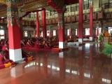 H.E. Achok Rinpoche in Serpom Monastery conferring the initiations of Black Manjushri, White Tara, Chenrezig Ngesum Kundrol (Avalokiteshvara who liberates beings from the three lower realms) and Trakpo Sumtril (three yidams - Vajrapani, Garuda and Hayagriva).