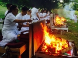 The annual Vajrayogini retreat at Trijang Buddhist Institute has concluded with a traditional fire puja
