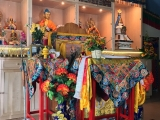 His Holiness Kyabje Trijang Rinpoche's throne is in the centre of the gompa at Tsongkhapa Meditation Centre