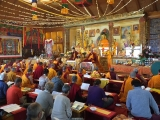 Many geshes, monks and lay people were in attendance during a long life ceremony (tenshug) for H.E. Gonsar Rinpoche and H.E. Rabten Rinpoche at Rabten Chöling, Switzerland