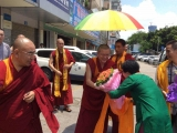 A smiling Achok Rinpoche received a warm welcome at Geshe Tenzin Palchok's centre in China