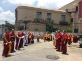 Students line up to welcome the arrival of Ven. Achok Rinpoche in China, at Geshe Tenzin Palchok's centre