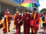 Venerable Achok Rinpoche arrives in China where he will be staying for up to a month. During this time, Achok Rinpoche, who is the heart student of Kyabje Yongyal Rinpoche, will be granting Vajrayogini initiation. To Achok Rinpoche's left (with his hand raised) is Geshe Tenzin Palchok, another prominent Shugden practitioner