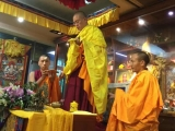 Venerable Achok Rinpoche giving initiation in China. Achok Rinpoche is the heart student of Kyabje Yongyal Rinpoche, who is the tutor of His Holiness Kyabje Trijang Chocktrul Rinpoche