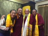 A wonderful meeting of Dharma brothers and Sangha! His Holiness Kyabje Pabongka Chocktrul Rinpoche (second from left) with H.E. Lama Gangchen (second from right) and Lama Gangchen's assistants, Gen Jamyang and Thonla