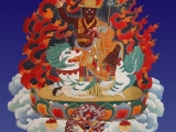A modern depiction of Dorje Shugden, with his chief acolyte Kache Marpo by his feet