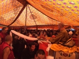 Crowds gather to receive blessings from Jewon Kondor Rinpoche