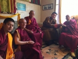 From left to right: H.E. Rabten Rinpoche, H.E. Gonsar Rinpoche, H.E. Gyumed Kensur Rinpoche Sonam Gyaltsen, H.H. Kyabje Trijang Chocktrul Rinpoche and H.H. the 101st Gaden Trisur Jetsun Lungrik Namgyal