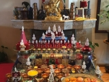 Setting up for a Dorje Shugden puja in Mongolia...see the beautiful giant tsa tsa in the background?