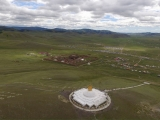 Incredible aerial view of Amarbayasgalant Monastery in Mongolia