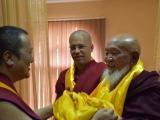 His Holiness Kyabje Pabongka Rinpoche greets His Eminence Gangchen Rinpoche and Venerable Lama Michel