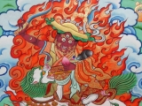A depiction of Dorje Shugden, painted in the tradition of His Holiness Kyabje Trijang Rinpoche where the centre of the hat is slightly raised so we can clearly see Dorje Shugden's third eye.