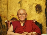 His Eminence Gonsar Rinpoche in a recent photo in Bucharest, Romania. For decades, Gonsar Rinpoche has been carrying on the precious Dharma works of his beloved teacher, Geshe Rabten, throughout Europe and the Himalayan region