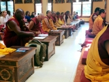 Some of the sangha in attendance at Gaden KhachoeShing in Bloomington, Indiana where His Holiness Kyabje Trijang Chocktrul Rinpoche is giving the Heruka Body Mandala Initiation