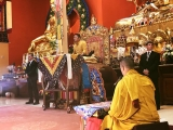 His Holiness Kyabje Trijang Chocktrul Rinpoche at Gaden KhachoeShing in Bloomington, Indiana to give the Heruka Body Mandala Initiation