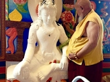 His Eminence Gangchen Tulku Rinpoche painting a Green Tara statue at Albagnano Healing Meditation Center (Bee, Italy)