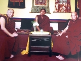 Many great masters have kept their practice of Dorje Shugden strong. Here we see Kyabje Trijang Chocktrul Rinpoche, meeting with Kyabje Lati Rinpoche and Kensur Lati Rinpoche. They are all known for their steadfast practice of Dorje Shugden, despite the ban enforced by the Tibetan leadership.
