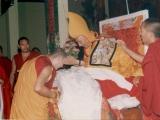 Khensur Jampa Yeshe Rinpoche of Ganden Shartse Monastery offering a khata to Gaden Trisur Lungrik Namgyal Rinpoche.