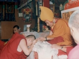 Kyabje Ling Choktrul Rinpoche offers a khata to Gaden Trisur Lungrik Namgyal Rinpoche, shortly after he was bestowed the title of Gaden Tripa. Gaden Trisur Lungrik Namgyal Rinpoche is a staunch Dorje Shugden practitioner.