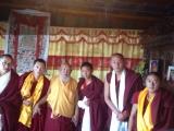 Dorje Shugden lamas in Denma Gonsa Rinpoche's monastery. From left to right: Tulku Gyaltsen, Dagya Lama, H.E. Lama Gangchen Rinpoche, Zemey Chocktrul Rinpoche, Tulku Lobsang Gyaltsen, Tulku Ngawang Khedub