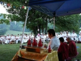 H.H. Trijang Rinpoche conducting Vajra Yogini fire puja 2014-Vermont