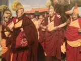 An old photo of Zava Damdin Rinpoche escorting Ra Lotsawa Dagom Rinpoche