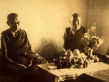 Vintage photo of HH Kyabje Trijang Dorje Chang with his student Kyabje Lama Gangchen Rinpoche