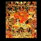 Thangka of Guru Rinpoche above Dorje Shugden