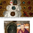 Kyabje Trijang Rinpoche's image appeared on a marble on His stupa