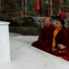 Lama Zopa Worships Trijang Rinpoches Stupa