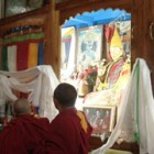 Trijang Rinpoche's statue, stupa and oil painting in Trijang Ladrang