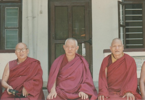 His Holiness Ganden Trisur Rinpoche Lungrik Namgyal, His Eminence Kyabje Zemey Rinpoche, His Eminence Geshe Tendar Rinpoche.