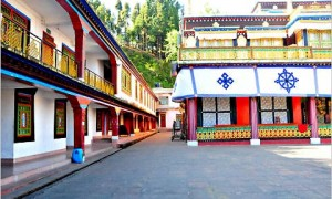 The inner courtyard at Rumtek monastery in Sikkim