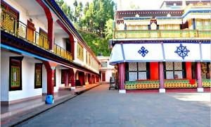The inner courtyard at Rumtek monastery in Sikkim