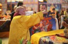 H.E. Gangchen Rinpoche offering the Dorje Shugden thangka to H.H. Trijang Choktrul Rinpoche