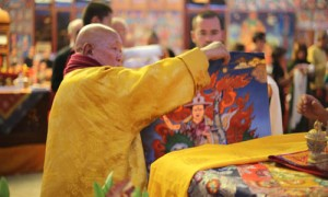 H.E. Gangchen Rinpoche offering the Dorje Shugden thangka to H.H. Trijang Choktrul Rinpoche