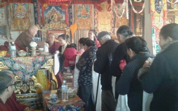 Dorje Shugden monks offer felicitations to the New Abbot of Shar Ganden