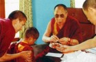 Postcard: Young Rabgya Rinpoche with H.H. The 14th Dalai Lama