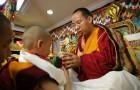 The Panchen Lama is given a precious statue of Lama Tsongkhapa