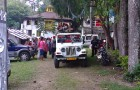 May 18, 2014: Monks from Tharpa Choling Monastery (on the jeep) who forcefully entered Gaden Choling Monastery. At this time of publication, they have refused to leave Gaden Choling