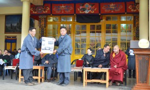 The Speaker of parliament launching The Tibet Post's fortnightly newspaper in 2012