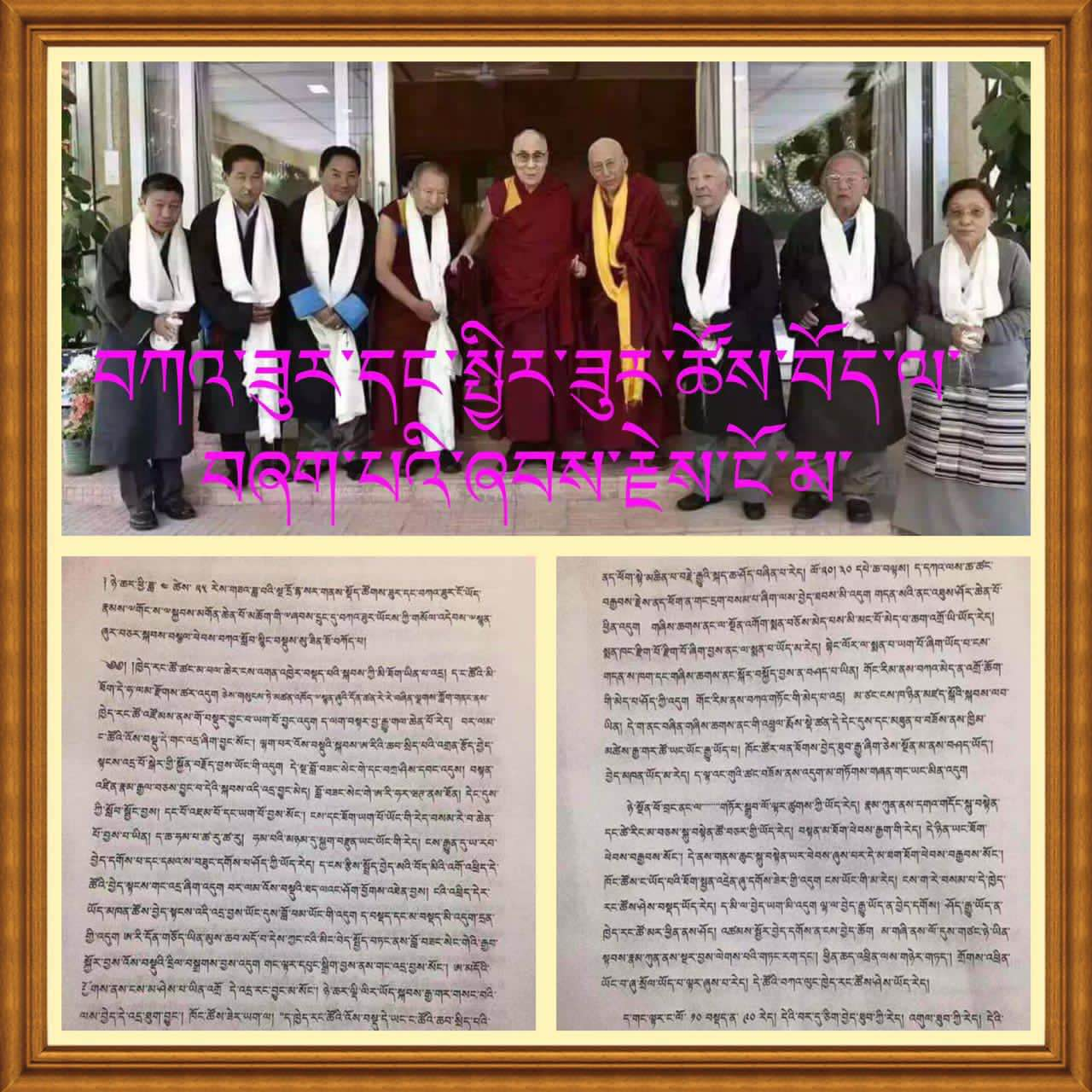 The transcript has been in circulation in conjunction with this image, purporting to show the people who had an audience with His Holiness the Dalai Lama