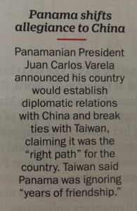 Panama shift to China