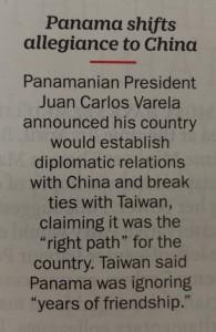 Panama shift to China